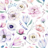 Seamless spring lilac watercolor floral pattern on a white background. Pink and rose flowers, weddind decoration illustration. - 208889686