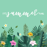 Summer vector illustration concept for background, web and social media banner, summertime card, party invitation template. Lettering summer concept with natural elements. - 208890643