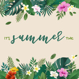 Summer vector illustration concept for background, web and social media banner, summertime card, party invitation template. Lettering summer concept with natural elements. - 208891027
