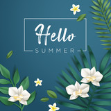 Hello summer vector illustration for background, mobile and social media banner, summertime card, party invitation template. Lettering summer concept with natural elements. - 208891241