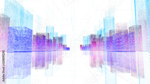 Abstract digital hologram 3D illustration of city with futuristic matrix. Digital buildings with a binary code particles network. Technology, connection and network concept. HUD background in 4K - 208891290
