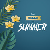 Hello summer vector illustration for background, mobile and social media banner, summertime card, party invitation template. Lettering summer concept with natural elements. - 208891416