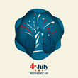 Greeting banner with Statue Of Liberty and fireworks in origami style. 4th of July. American Independence Day. Vector paper art illustration.