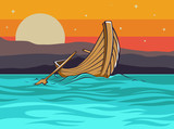 landscape with the fishermen boat and sunset - 208893019
