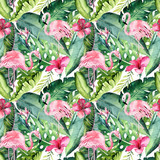 Tropical seamless floral summer pattern background with tropical palm leaves, pink flamingo bird, exotic hibiscus. Perfect for jungle wallpapers, fashion textile design, fabric print. - 208895898