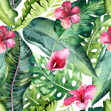 Tropical seamless floral summer pattern background with tropical palm leaves, pink flamingo bird, exotic hibiscus. Perfect for jungle wallpapers, fashion textile design, fabric print. - 208896048