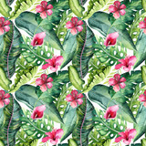 Tropical seamless floral summer pattern background with tropical palm leaves, pink flamingo bird, exotic hibiscus. Perfect for jungle wallpapers, fashion textile design, fabric print. - 208896215