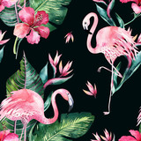 Tropical seamless floral summer pattern background with tropical palm leaves, pink flamingo bird, exotic hibiscus. Perfect for jungle wallpapers, fashion textile design, fabric print. - 208896463
