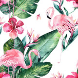 Tropical seamless floral summer pattern background with tropical palm leaves, pink flamingo bird, exotic hibiscus. Perfect for jungle wallpapers, fashion textile design, fabric print. - 208896602
