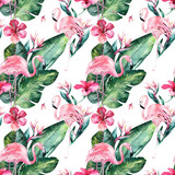 Tropical seamless floral summer pattern background with tropical palm leaves, pink flamingo bird, exotic hibiscus. Perfect for jungle wallpapers, fashion textile design, fabric print. - 208896684