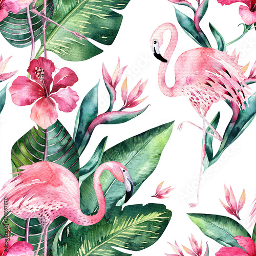 Tropical seamless floral summer pattern background with tropical palm leaves, pink flamingo bird, exotic hibiscus. Perfect for jungle wallpapers, fashion textile design, fabric print. - 208897070