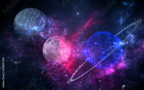 Canvas Heelal Planets and galaxies, science fiction wallpaper. Beauty of deep space. Billions of galaxies in the universe Cosmic art background