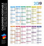 Calendrier 2019 sur 12 mois MODIFIABLE avec calques textes vectorisés et non vectorisés / Calendrier scolaire jusque congés d'été - 208898095