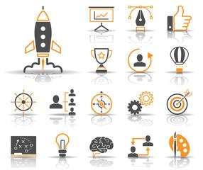 Strategie & Kreativität - Iconset (Grau/ Orange) © kartoxjm