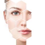 Beautiful female face in honeycombs. Spa concept. - 208899008