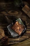 brownie chocolate macadamia baked sweet on wood background