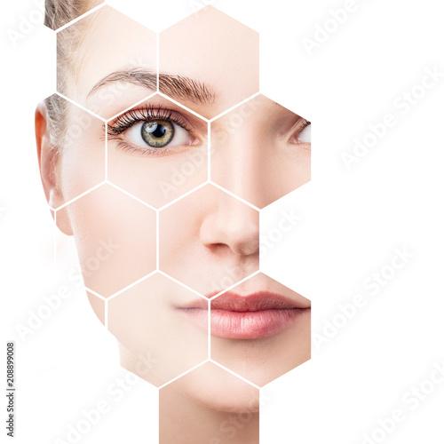 Leinwandbild Motiv Beautiful female face in honeycombs. Spa concept.