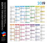 Calendrier 2019 sur 14 mois MODIFIABLE avec calques textes vectorisés et non vectorisés / Calendrier scolaire jusque congés d'été - 208899836