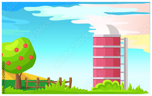 Aluminium Boerderij Rural Landscape with Granary Cartoon Vector