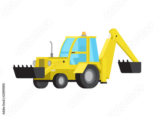 Loader with Excavator Bucket Flat Vector Isolated