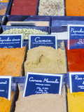 Aix-en-Provence, FRANCE, on March 6, 2018. Spices, typical for Provence, and seasoning are laid out on counters of the Sunday market  - 208902200