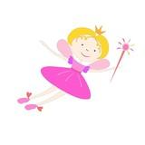 Color Cartoon fairy flying with a magic wand
