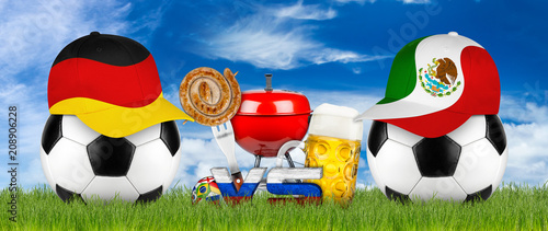 germany and mexico baseball cap on black white soccer ball green sport field grass background with grill bbq beer bratwurst and blue sky