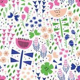 Kid flower and butterfly summer seamless pattern. Vector background. Wrapping. Surface design. - 208906411