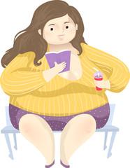 Girl Fat Positivity Read Book Illustration