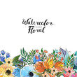 Watercolor Floral Background. Hand painted border of flowers for invitations and greeting cards. Frame isolated on white and brush lettering. Spring blossom