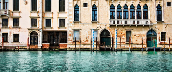Panorama of houses and palaces on the grand canal in Venice, Italy © Delphotostock