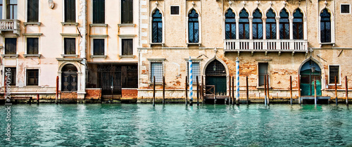 Panorama of houses and palaces on the grand canal in Venice, Italy - 208909416