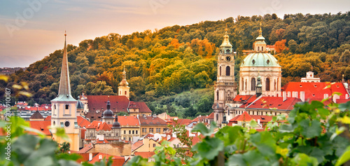 Aluminium Wijngaard Vineyard of Prague and St Nicholas church, Czech Republic
