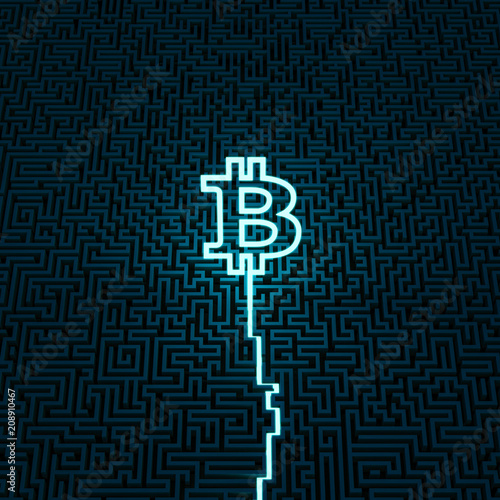 Neon bitcoin maze / 3D illustration of neon trail leading to center of giant maze ending in glowing bitcoin symbol