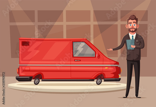 Fotobehang Auto Sale of a new car. The seller at the car showroom shows the vehicle. Vector cartoon illustration