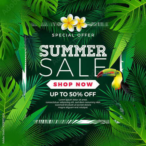 Summer Sale Design with Flower, Toucan and Exotic Leaves on Green Background. Tropical Floral Vector Illustration with Special Offer Typography Elements for Coupon, Voucher, Banner, Flyer, Promotional