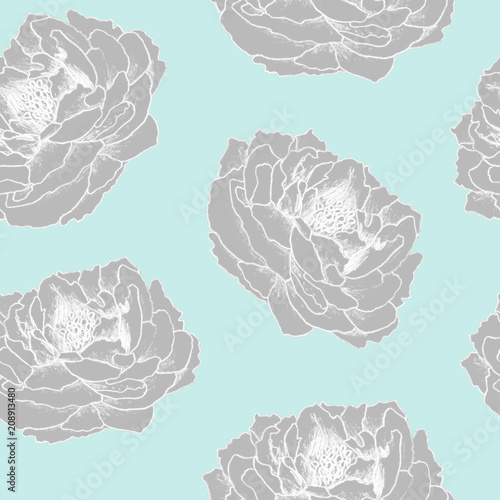 Seamless hand drawn floral pattern for  textile, fabric, paper, wallpaper. Peony flowers on the blue background. - 208913480