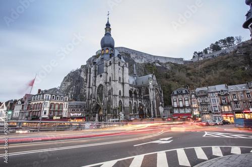 Sticker Dinant cityscape, Belgium. Collegiate Church of Our Lady near Meuse river.