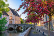 Leinwanddruck Bild - Eure River embankment with old houses in a small town Chartres, France
