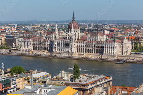 budapest houses of Parliament hungary from above in the summer