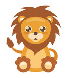 Cheerful little lion on white background, vector illustration.