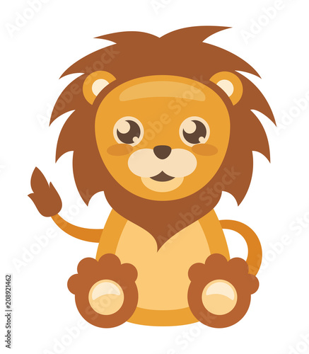 mata magnetyczna Cheerful little lion on white background, vector illustration.