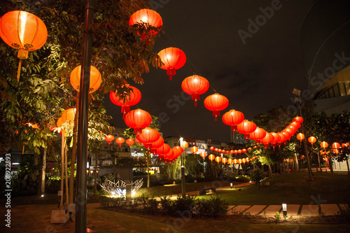 In de dag Kuala Lumpur Chinese new year lanterns decoration in park