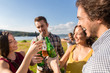 Leinwanddruck Bild - Group of men and women at BBQ party in field toasting with drinks