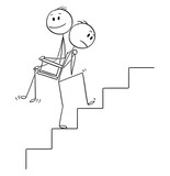 Cartoon stick drawing conceptual illustration of man or businessman carrying another man, manager or boss upstairs on his back. Business concept of teamwork or favoritism. - 208924897