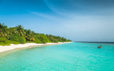 Maldives, the perfect white beach, paradise - 208925881