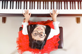 Little asian girl happy to play piano - 208926802