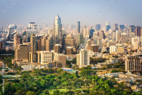 Fotobehang Bangkok Bangkok city office buildings and condominium view from roof top bar on hotel, Bangkok, Thailand