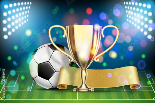 Fototapeta Soccer ball, arena stadium, golden cup and yellow flag.