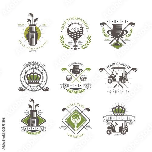 Golf tournament logo set, vintage labels for golf championship, sport club, business card vector Illustration on a white background